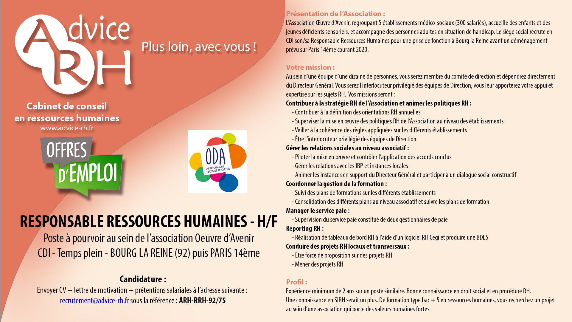 Advice RH Recrutement - Responsable Ressources Humaines H/F - CDI - Temps plein